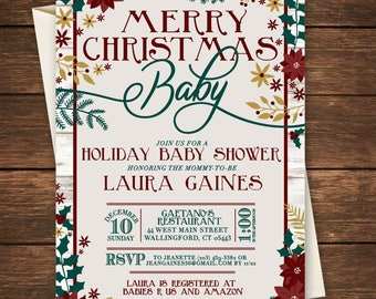 Merry Christmas Baby Shower Invitation, Merry Christmas Baby Invitation, Christmas Baby Shower Invitation, Christmas Baby Shower, Christmas