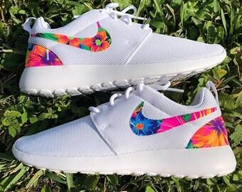 Womens white tahitian tropical custom Nike Roshe