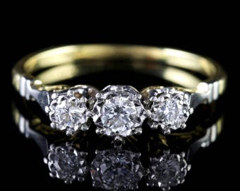 Antique Edwardian Diamond Trilogy Ring 18ct Gold Platinum Circa 1910