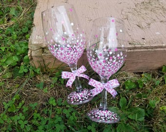 Breast Cancer Awareness pink confetti polka dot wine glass set, pink breast cancer ribbon wine glass set, pink ribbon wine glass set