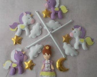 Baby crib mobile Princess,Unicorn mobile,baby mobile,nursery mobile,baby kit mobile,baby cot mobile,baby girl mobile,custom mobile