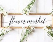Flower Market Sign, Wood ...