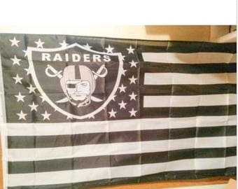 PRE-SEASON SALE 30% Off Oakland Raiders, Raiders Nation Flag or Banner 3' x 5' White & Black Stripes