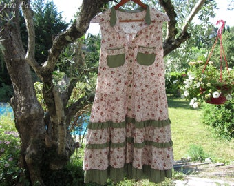 Price for this shirt pink and green, romantic, shabby chic dress and cotton flower drop