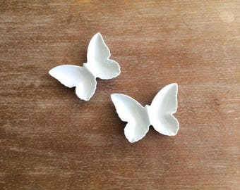 Mid Modern Otagiri OMC White Butterfly Decorative Plates