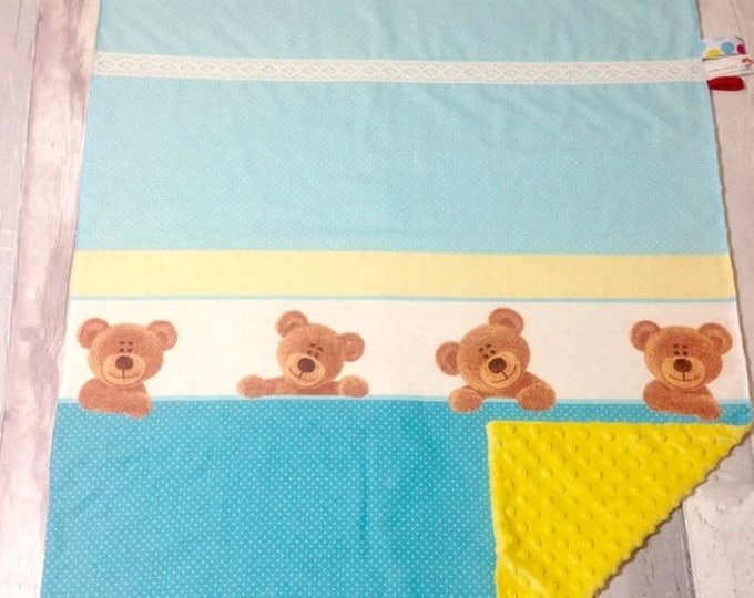Xmas Teddy Bears Blanket, Baby Teddy Blanket, Yellow Minky Blanket, Infant Baby Blanket, Tummy Time, Baby Play Mat, Toddler Blanket