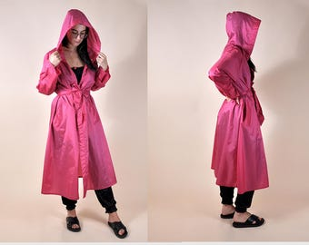 80's Pink Hooded Raincoat S/M/L