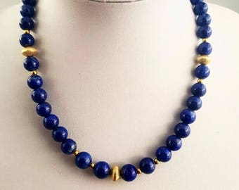 Lapis lazuli beaded necklace / lapis necklace / quality lapis necklace / lapis jewellery / gift idea for her