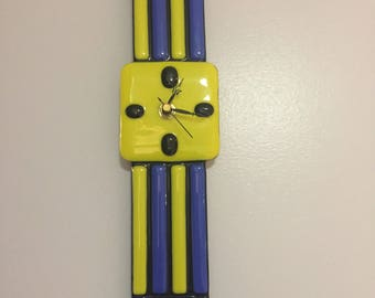Blue and Yellow Glass Watch Clock