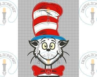Dr Cat Head Applique- Dr Cat Head Portrait Head-Machine Embroidery Designs - INSTANT DOWNLOAD