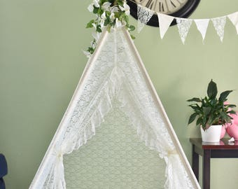 Ruffled Edge Ivory All Lace Kids Teepee, Kids Play Tent, Childrens Play House, Tipi,Kids Room Decor