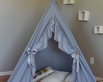Silver Kids Teepee, Kids Play Tent, Childrens Play House, Tipi,Kids Room Decor