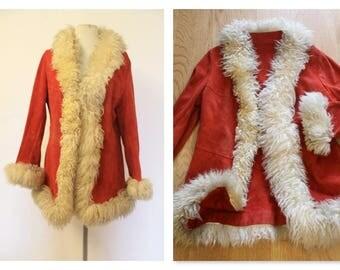 Super Cool 70's Red Suede Fur Trim Coat
