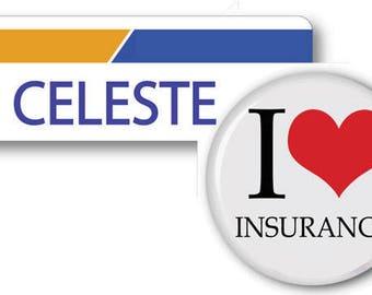 CELESTE From Progressive Insurance Halloween Costume Name Badge Tag magnetic Fastener & Button Ships ASAP FREE