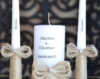 Personalized Wedding Unity Candle Set, Custom wedding candles hand decorated with flower and gypsophila