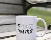 Dog Mama Mug | White Ceramic Coffee Mug | Black Hand Lettering | Dishwasher and Microwave Safe Mug