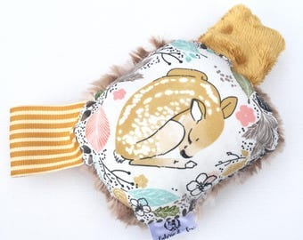Autumn Fawn Rattle Plushie-Cotton + Fawn Faux Fur + Crinkle Material + Ribbon-Woodland Foliage Floral Fawn Deer