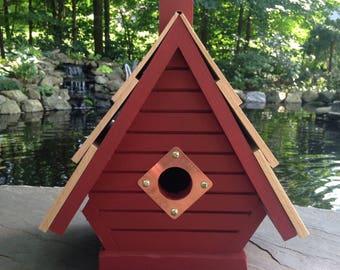 Barn red A-frame Birdhouse