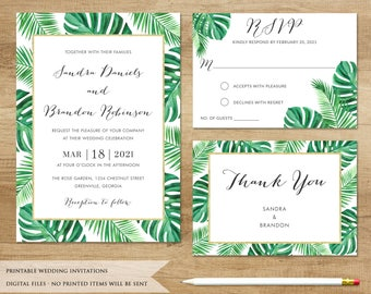 Tropical Wedding Invitation. Tropical Leaves. Beach Wedding Invitation. Boho Wedding Invitation. Tropical Wedding. Philodendron Palm Leaf.