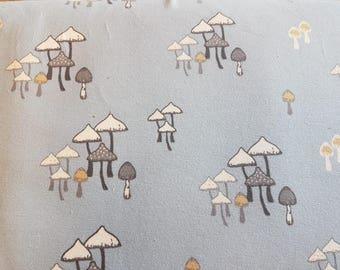 Mushroom Field - Blue, Organic Cotton Lycra Jersey Knit Fabric