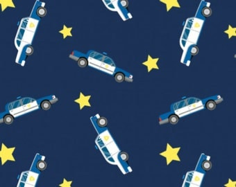 Police Cars - Navy, Cotton Lycra Jersey Knit Fabric