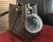 Snow Gray Fox Fur Keychains Genuine pompom Handbag charm, plush furry keychain, furry ball keyring fluffy purse charm many color be custom