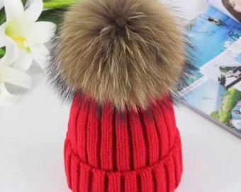 Cute Women Hats Fluffy Large Pom Poms Fox Fuzzy Hat Cotton Hat Brown Fox Puffs Ball Pompoms Hat BLACK tips Knit Beanie for Women&Children