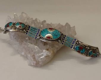 CLEARANCE *Red Coral and Turquoise Bracelet