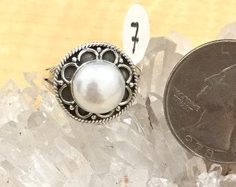 Biwa Pearl Ring, Size 7