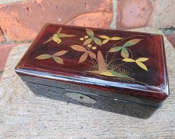 Pretty lacquered trinket box with birds design
