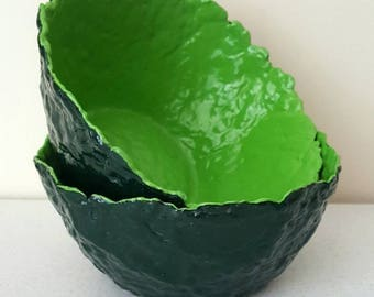 Hand crafted two tone green paper mache bowls