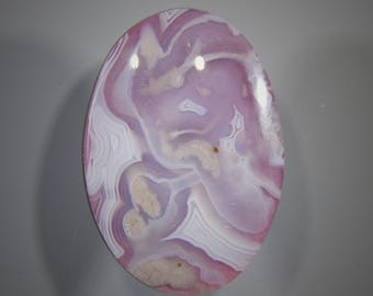 Pink Tinted Moroccan Ghost Seam Agate Cabochon Doublet