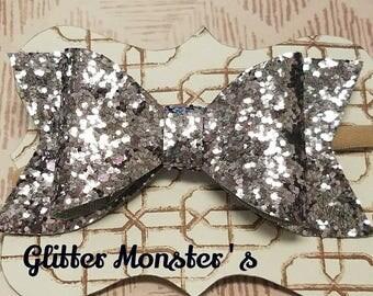Pewter Glitter Bow, Glitter Bows, Pewter Glitter Headbands, Pewter Glitter Hair Bows, Baby Bow, Baby Glitter Headband,Girls Hair Accessories