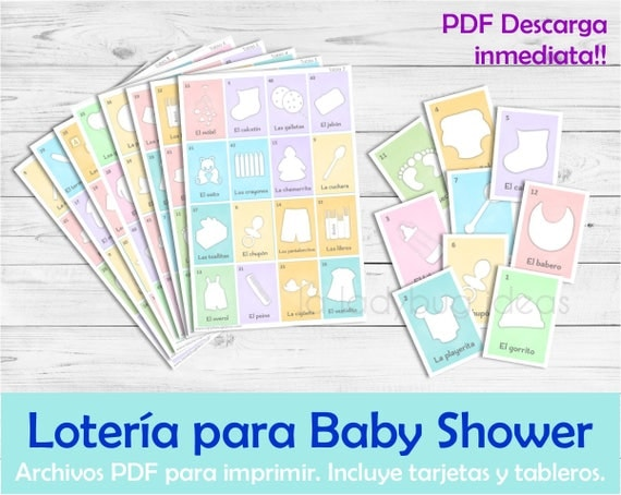 Baby Shower Juegos Pdf ~ Lotería para baby shower en español juego