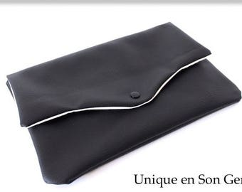 Soft faux leather black and ivory clutch one of its kind
