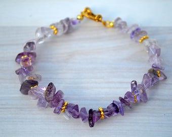 Lavender fluorite bracelet, Fluorite bracelet, Lavender bracelet, Fluorite jewelry, Fluorite gift, Genuine beaded fluorite bracelet.