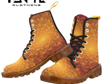 Golden Fractal Bloom Festival boots, Burning man boots, Dr Marten style boots, Combat boots, Ladies and Mens Festival shoes and boots,
