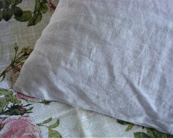 Simple white linen pillow case stonewashed linen pillowcase shabby chic linen bed set  by LUXOTEKS
