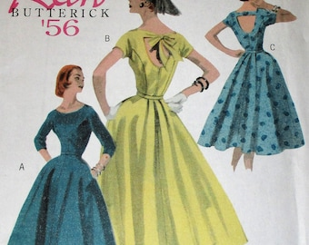 Butterick pattern, B5605, Retro Butterick 1956, misses dress, short sleeve and 3/4 length sleeves, bodice back variation, sz: 8, 10, 12, 14