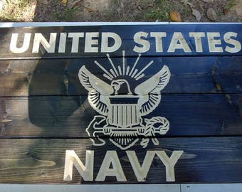 Carved United States Navy sign