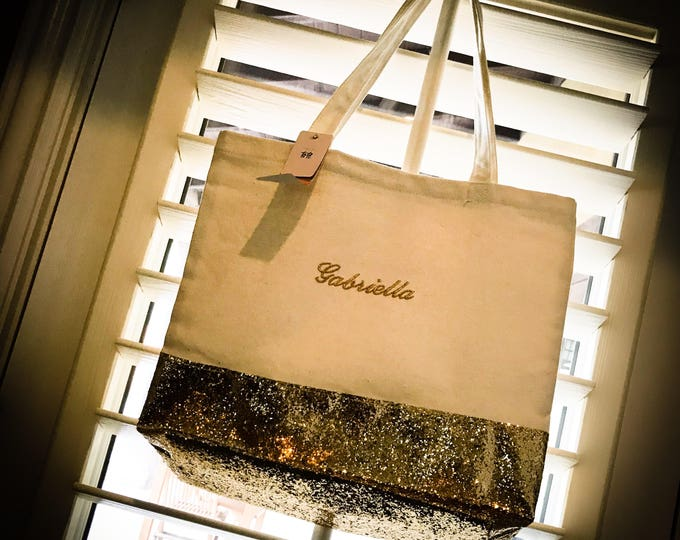 Custom Embroidered Gold Sparkle Tote