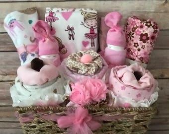 Baby Gift Basket, Baby Girl Gift Basket, Baby Layette, Baby Girl Shower Gift