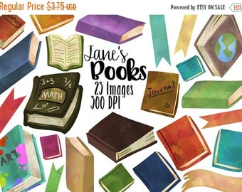 50% OFF Watercolor Books Clipart - Educational Items Download - Instant Download - Watercolor Books Journals and Bookmarks