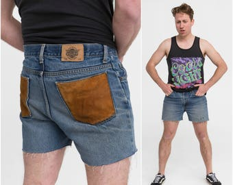 Denim Shorts w/ Suede Patch / Size M