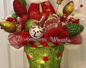 Elf Legs Centerpiece, Christmas centerpiece, Christmas top hat, Whimsical Centerpiece