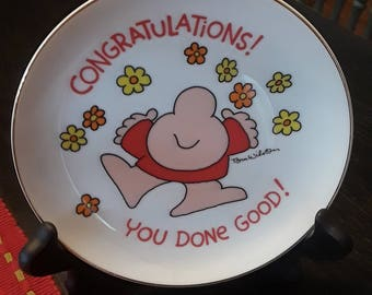 Vintage 1980's Ziggy Collector Plate Congratulations You Done Good