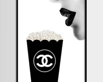 Chanel print, Modern print, Fashion art, Chanel, Minimalist, Digital art, Pop corn, Printable, Digital print Instant Download 11x14,16x20