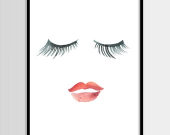 Lips eyelashes print, Beauty print, Printable Art, Fashion print, Red, Wall Decor, Poster, Digital poster print Instant Download 8x10, 16x20