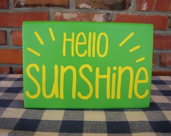 Hello Sunshine! -Yellow and Green Painted Wood Sign - Spring, Family Room, Kitchen, Cheery Sign