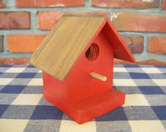 Pine Birdhouse - Decorative, Paprika - Porch, Garden, Deck, Spring Decorating